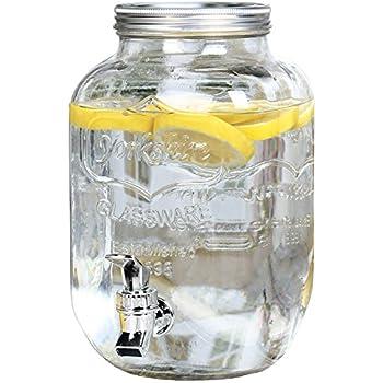 Estilo 1 Gallon Single Glass Beverage Drink Dispenser With Leak Free Spigot, Clear