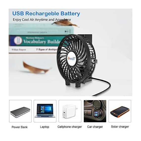 VersionTECH. Mini Handheld Fan, USB Desk Fan, Small Personal Portable Stroller Table Fan with USB Rechargeable Battery Operated Cooling Folding Electric Fan for Travel Office Room Household 5 【Hanging Umbrella Design】: Unique design style, you can hang the fan above your umbrella or parasol.The design is ideal for outdoor crowds, and you don't have to worry about the outdoors even when the temperature is so high, because this fan can cool you down,It's a must-have for the summer. 【Folding And Multipurpose Design】: This fan can fold up to 180°.You can use this fan: ①hold it on your hand, ②put it on the table, ③hang it on the sun umbrella, ④clip it on other objects; If you don't know how to use it, please look at the picture or contact us. If you find better uses, you can also tell us. 【ENERGY SOURCE】: This fan is a USB port rechargeable model. It can also be powered directly by batteries, but you must remove the insulation from the battery compartment, otherwise it will not be recharged or used.USB cable can be charged with computer, mobile power, power bank and so on.