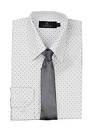 Vittorino Big Boy\'s Polka Dot Dress Shirt and Tie, White, XL/18
