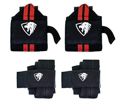 Primal Elite Wrist Wraps + Lifting Wraps Bundle (2 Pairs) - Professional Grade Protection for Weightlifting, Crossfit, Workout, Gym, Powerlifting, Bodybuilding - Cheap Me Buildings Sale For Near