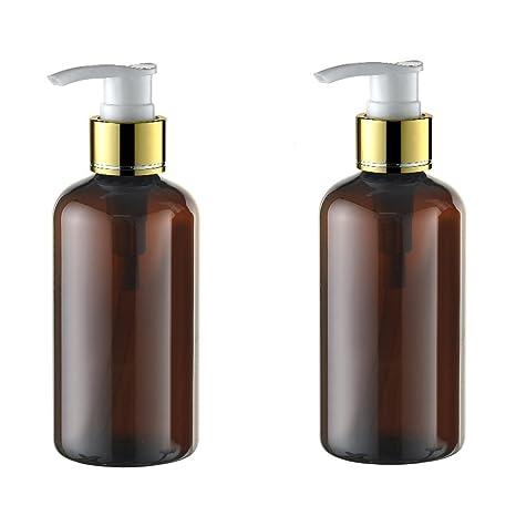 2pcs 220 ml Juego recargable vacío plástico marrón crema dispensador de loción bomba de Spray botella