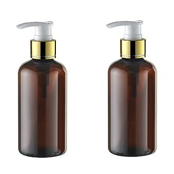 2pcs 220 ml Juego recargable vacío plástico marrón crema dispensador de loción bomba de Spray botella botes maquillaje cosméticos baño ducha champú líquido ...