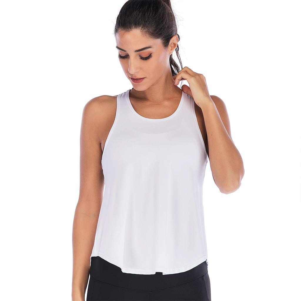 Mlide Womens Womens Summer Solid Color Shirts Sleeveless Casual Racerback Workout Tank Tops White