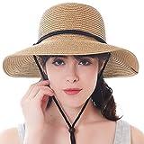 Women's Wide Brim Sun Beach Hat Braided Bucket with Wind Lanyard UPF 50+