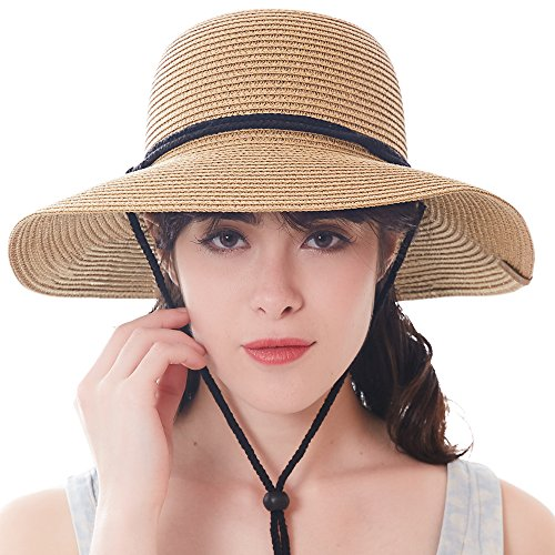 67af5685 Women's Wide Brim Sun Beach Hat Braided Bucket with Wind Lanyard UPF 50+ by  FURTALK