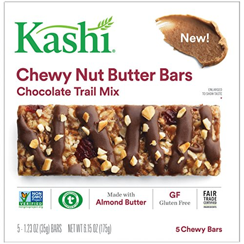 Kashi Snack Bars - Kashi, Chewy Nut Butter Bars, Chocolate Trail Mix, Vegan, Gluten Free, Non-GMO Project Verified, 6.15 oz (5 Count)
