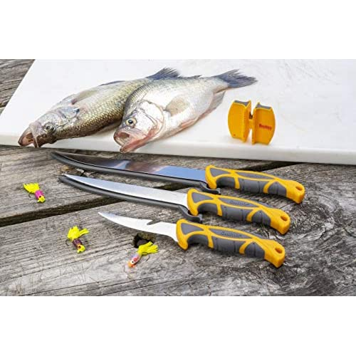 Fishing fillet knife with knife sharpener