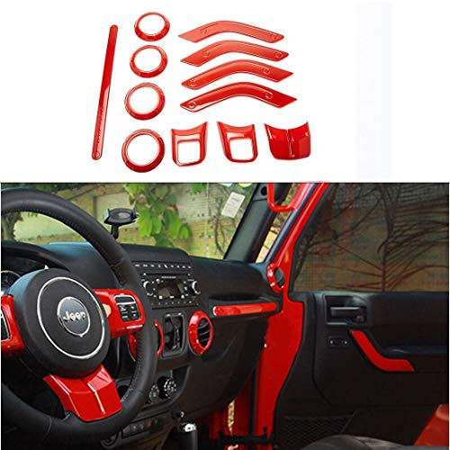 12PCS Red/Black Interior Decoration Accessories for Jeep Wrangler 2/4 Door (Red)