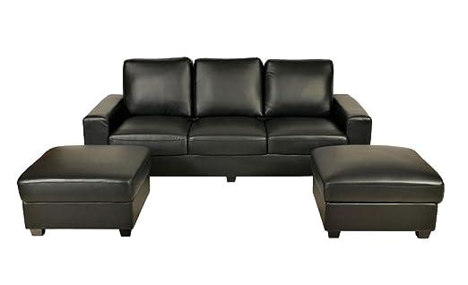 Vintage Sofa Orlando 3 Sitzer Mit 2 Hocker Schwarz Amazon De