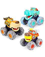 HOLA Toy Cars for 1 2 3 Year Old Boys, 3 Pack Monster Truck Toy Set - Bull Truck, Leopard Truck, Crocodile Trucks, Friction Powered Cars Pull Back Cars Push and Go Cars Toy for Toddler Boys Baby Gift