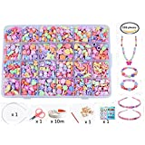 Vytung Beads Set for Jewelry Making Kids Adults Children Craft DIY Necklace Bracelets Letter Alphabet Colorful Acrylic Crafting Beads Kit Box with Accessories(3#)