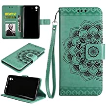 YHUISEN Huawei Y6 2 / Honor 5A Case,Embossed Half Flower Design [Wrist Strap] Premium PU Leather Wallet Pouch Flip Stand Case For Huawei Honor 5A / Huawei Y6 2 / Y6 II ( Color : Green )