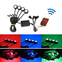 iJDMTOY 4pcs Multi-Color RGB LED Eagle Eye Light Kit w/ Remote Control For Motorcycle or Bike Ground Effect Underbody Lighting