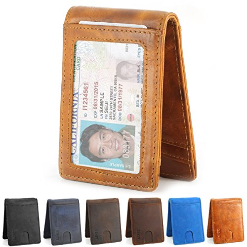 Zenpy RFID Blocking Bifold Front Pocket Wallets Money Clip Slim Wallet Minimalist Wallet for Men – Made From Genuine Leather (Distressed Brown)