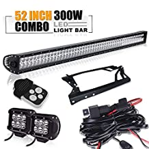 TURBO SII 52 inch 300w Jeep Wrangler 07-15 Led Light Bar and 2 Pcs 18w Led Spot Beam Work Lights with Remote Control Wiring KIT 3 Lead,mounting Brackets