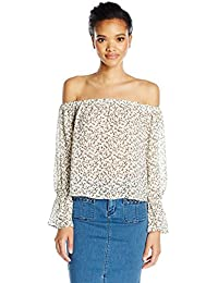 Lucca Couture Women's Off Shoulder Printed Ruffle Sleeve Top