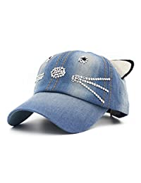 Baseball Cap Hip-Hop Kids Cat Ears Crystal Spring Summer Hat