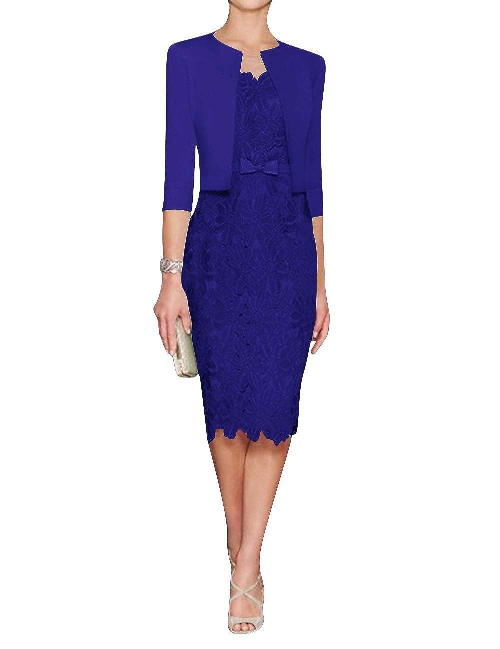 Royal bluee H.S.D Mother of The Bride Dress Sheath Mother Dress Lace Formal Dresses Satin Jacket