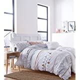 MARBLE-EFFECT GEOMETRIC SHAPES STRIPES GREY WHITE COTTON BLEND CANADIAN QUEEN SIZE (230CM X 220CM - UK KING SIZE) DUVET COMFORTER COVER
