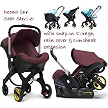 Doona Stroller with Snap on Storage, Rain Cover & Sunshade Extension (burgundy)