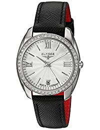 ELYSEE Women's Diana 32mm Black Leather Band Steel Case Quartz Silver-Tone Dial Analog Watch 28600B