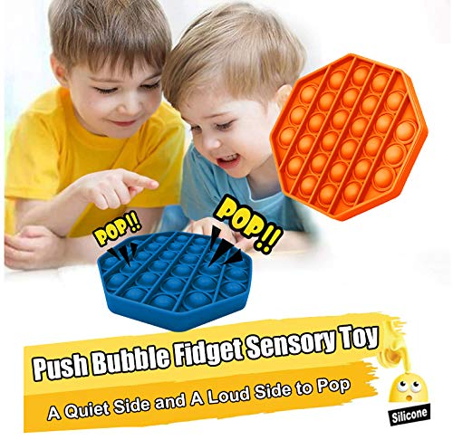 Push and Pop Bubble Fidget Sensory Toy, a Quiet Side and a Loud Side to Pop, Autism ADHD Special Needs Stress Reliever Silicone Squeeze Toy, a Great Way to Relax and Keep Kids Adults Busy, Blue