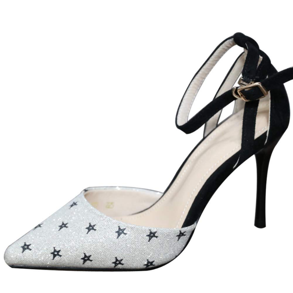 ZZDSH Superfine Superfine Superfine And High-Heeled scarpe with A Buckled Pointed Girl scarpe Female Short Open Mouth scarpe, 34 14b196