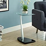 Monarch Accent Table with Tempered Glass, Black/Silver