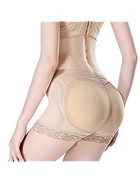 Womens Lace Butt Lifter Padded Panties Hip Enhancer Shapewear Control Panty Underwear Boy Shorts Body Shaper Beige S