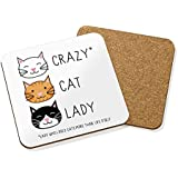 CRAZY CAT LADY DRINKS COASTER MAT CORK SQUARE - Animal Kitten Funny Quote by Gift Base