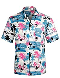 APTRO Men's Hawaiian Shirt Short Sleeve Beach Aloha Party Shirt