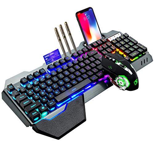Teclado y mouse inalámbricos para juegos, mouse con teclado recargable con retroiluminación RGB y panel de metal con batería de 4800 mAh, teclado mecánico con reposamanos extraíble y mouse mudo para juegos de 7 colores para jugadores de PC