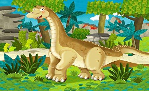 Leowefowa 5X3FT Cartoon Dinosaur Backdrop Jurassic Period Backdrops for Photography Forest Trees Cartoon Boys Kids Birthday Vinyl Photo Background Boy Room Wallpaper Studio Props