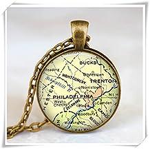 Philadelphia map necklace, glass dome antique bronze pendant,map jewelry