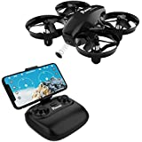 Potensic A20W Mini Drone for Kids with Camera, RC Portable Quadcopter 2.4G 6 Axis-a 6 Altitude Hold, Headless, Remote Control, Route Sett, Black