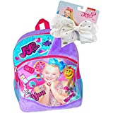 "JoJo Siwa Emoji ""BE YOU"" Fuzzy Backpack and Signature White Rhinestones Hair Bow Set"