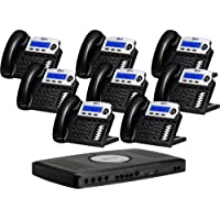 X16 6-Line Small Office Phone System with 8 Charcoal X16 Telephones - Auto Attendant, Voicemail, Caller ID, Paging & Intercom