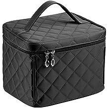 EN'DA big size Nylon Cosmetic bags with quality zipper single layer travel Makeup bags (Black)
