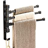 ELLO&ALLO Oil Rubbed Bronze Swing Out Towel Rack for Bathroom Holder Wall Mounted Towel Bars with Hook 3-Arm