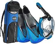 Phantom Aquatics Italian Design Snorkeling Full Face Snorkel Mask, Foldable 180 Degree Panoramic View Snorkeli