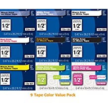 """Genuine Brother TZe 1/2"""" (12mm) Color Variety Pack (9 Tapes) for Brother PT-1230PC, PT1230PC Label Maker"""