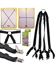 eZAKKA Bed Sheet Straps One Set Long Crisscross Adjustable Fitted Bed Sheets Corner Holder Suspenders Grippers Bands Fasteners Mattress Pad Cover Elastic Strap (Crisscross)