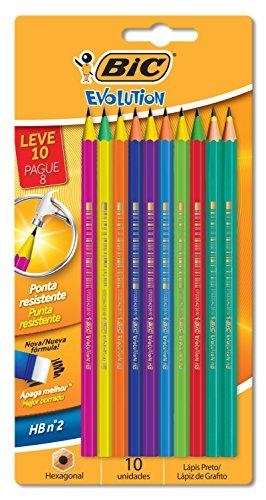 Lápis plástico preço Evolution Color sextavado 930018 Bic, BIC, 930018, Preto, pacote de 10