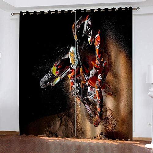 Tenda Oscuranti Termiche Isolanti con Occhielli – 100% Poliestere Tessuto, 2 x 140cm x 220cm (W x L) – Tema del Tendaggio 3D – Motocross – Adatto per Soggiorno, Camera da Letto e finestre