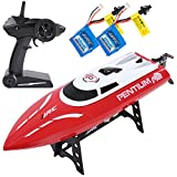 SGILE 25km/h RC Boat, 2.4GHz Remote Control Racing Boat Toy for Pool Sea, Outdoor Speending Toy with 2 Free Batteries for Adults Kids, Red