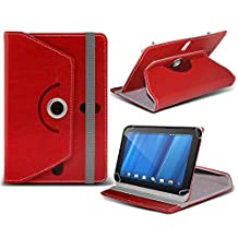 HP TouchPad ( Red ) Tablet Luxury 360° Rotating PU Leather Wallet Spring Stand Skin Case Cover by ONX3