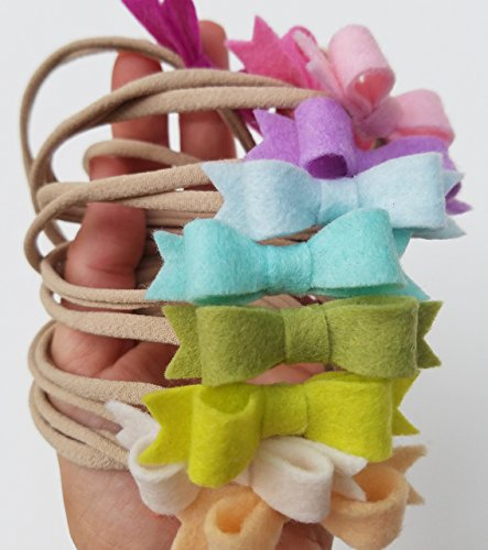 HANDMADE PASTEL RAINBOW Mini Bow set of 12 baby nylon headbands in Pastel Colors