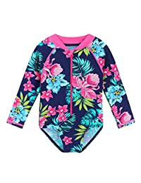 HUANQIUE Baby/Toddler Girl Swimsuit Rashguard Swimwear Long Sleeve One-Piece Navy Flower 5-6 T