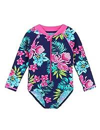 65ac5855ac1fe HUAANIUE Baby/Toddler Girl Swimsuit Rashguard Swimwear Long Sleeve One-Piece