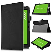 Acer Iconia One 10 B3-A30 case,KuGi ® Acer Iconia One 10 B3-A30 Multi-Angle Stand Slim-Book PU Leather Cover Case for Acer Iconia One 10 B3-A30 tablet (Black)